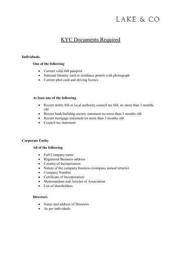 KYC Requirements