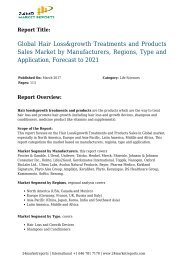 Global Hair Loss&growth Treatments and Products Sales Market by Manufacturers, Regions, Type and Application, Forecast to 2021