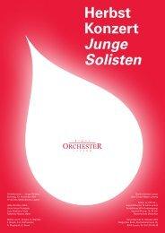 Herbst Konzert Junge Solisten - Stadtorchester Luzern