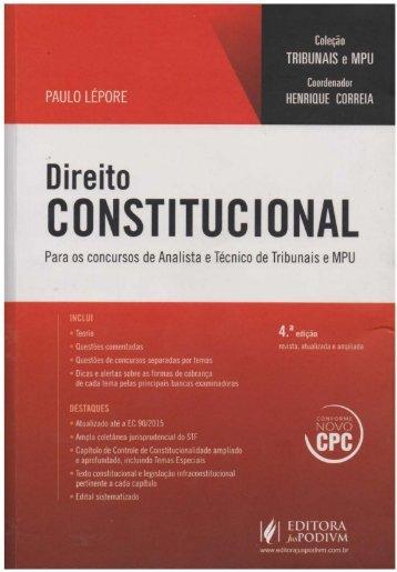 #Direito Constitucional - Para os Concursos de de Analista e Técnico de Tribunais e MPU (2016) - Paulo Lépore