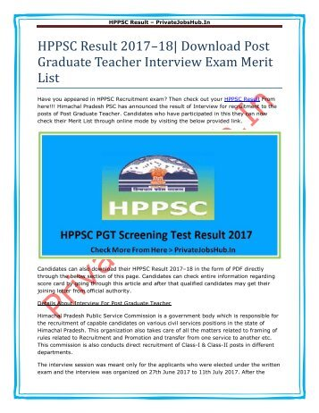 PJH-HPPSC Result 2017–18- Download Post Graduate Teacher Interview Exam Merit List