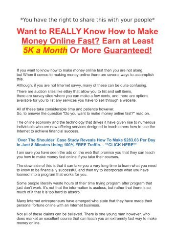 Want to REALLY Know How to Make Money Online Fast