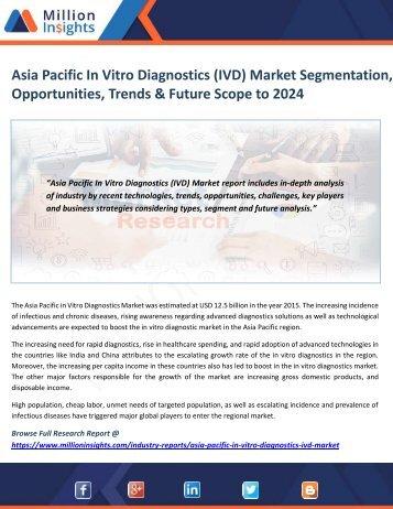Asia Pacific In Vitro Diagnostics (IVD) Market Segmentation, Opportunities, Trends & Future Scope to 2024