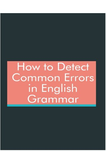 How to Detect Common Errors in English Grammar?