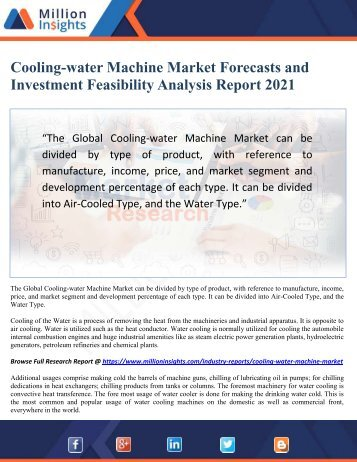 Cooling-water Machine Market Forecasts and Investment Feasibility Analysis Report 2021