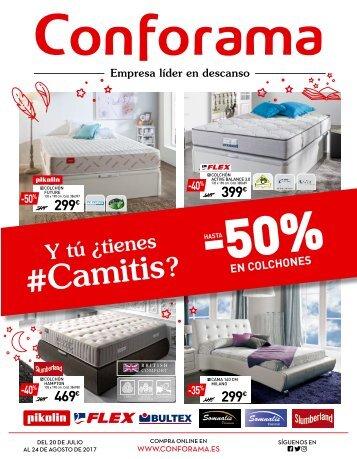 Catálogo Conforama hasta -50% en colchones hasta 24 de Agosto 2017