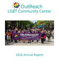 OutReach LGBT Community Center Annual Report 2016