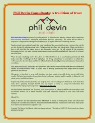 Phil Devin Consultants: A tradition of trust