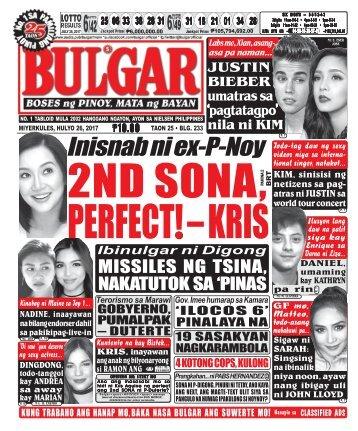 JULY 26, 2017 BULGAR: BOSES NG PINOY, MATA NG BAYAN