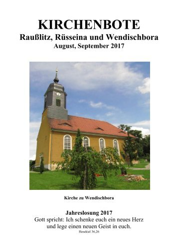 Kirchenbote August, September 2017