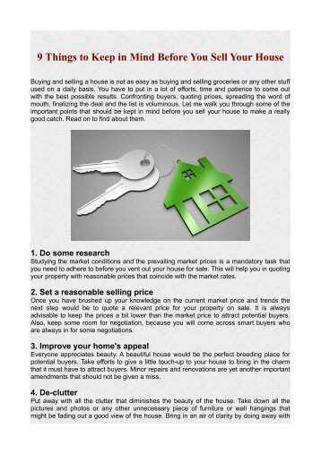9 Things to Keep in Mind Before You Sell Your House