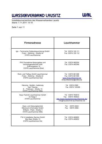 Firmenadresse Lauchhammer - Wasserverband Lausitz
