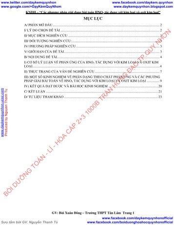 Các phương pháp giải dạng bài toán HNO3 tác dụng với kim loại và oxit kim loại