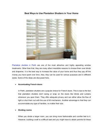 Best Ways to Use Plantation Shutters in Your Home
