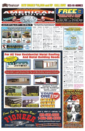 American Classifieds July 27th Edition Bryan/College Station