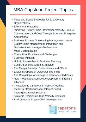 capstone project topics for mba marketing