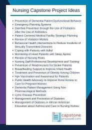 Nursing Capstone Project Ideas
