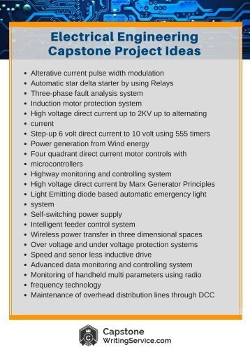electronic engineering capstone projects Examples of capstone projects  equally important to the success of the capstone project will be carefully defining the specific issue to ensure the scope of work .