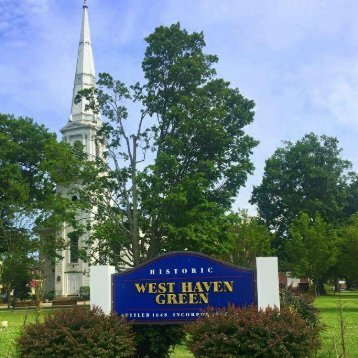 West Haven Green a few paces away from dental implant specialist Shoreline Dental Care West Haven, CT 06516