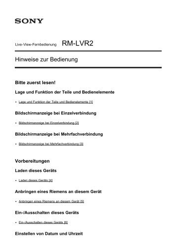 Sony RM-LVR2 - RM-LVR2 Manuel d'aide Allemand