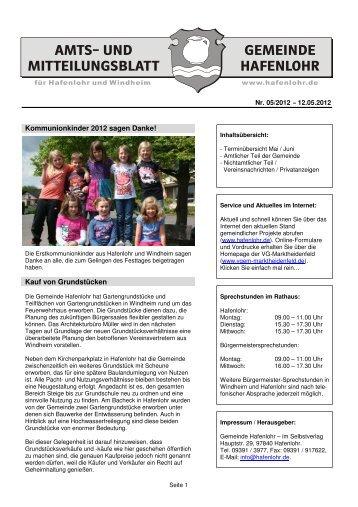 Kommunionkinder 2012 Sagen Danke! - Hafenlohr