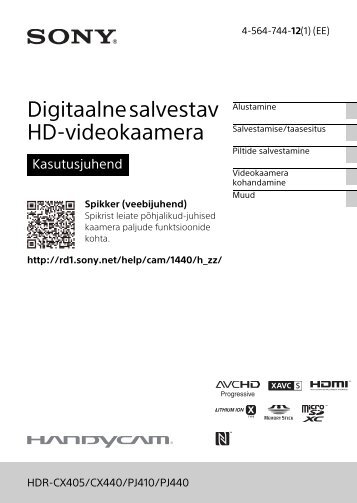 Sony HDR-CX405 - HDR-CX405 Consignes d'utilisation Estonien