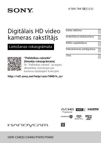 Sony HDR-CX405 - HDR-CX405 Consignes d'utilisation Letton