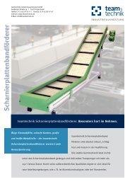 Scharnierplattenbandförderer - teamtechnik Industrieausrüstung ...
