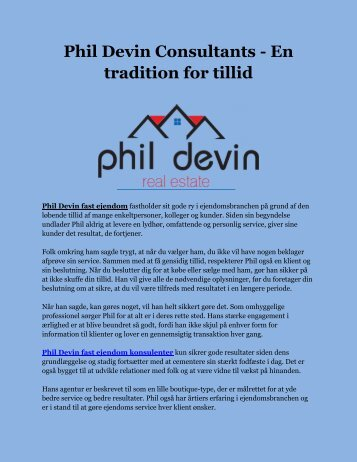 Phil Devin Consultants - En tradition for tillid