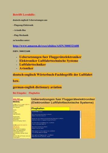 deutsch-englisch sprechen am Flughafen (Flugzeug-Elektronik Luftfahrt-Begriffe)