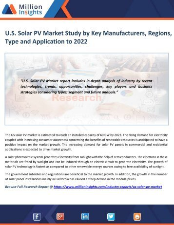 U.S. Solar PV Market Study by Key Manufacturers, Regions, Type and Application to 2022