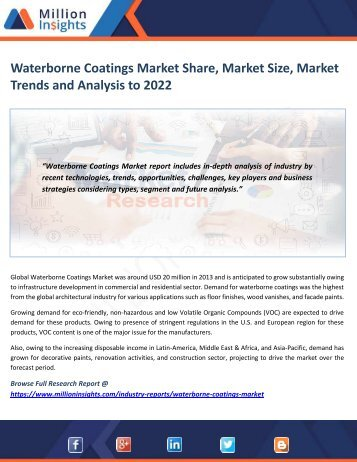 Waterborne Coatings Market Share, Market Size, Market Trends and Analysis to 2022