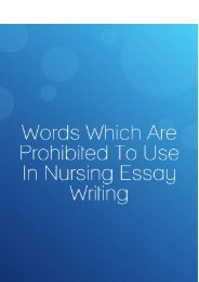 Words Which are Prohibited to Use in Nursing Essay Writing