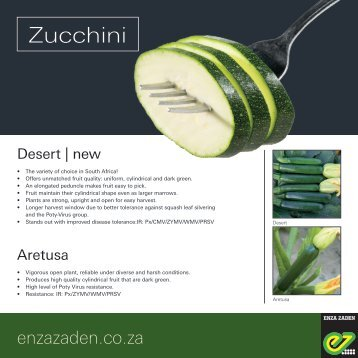 Leaflet Zucchini South Africa 2018