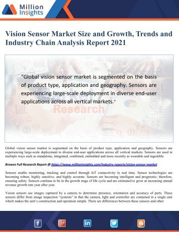Vision Sensor Market Size and Growth, Trends and Industry Chain Analysis Report 2021