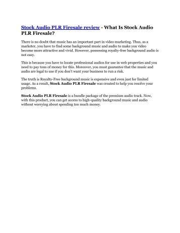 Stock Audio PLR Firesale reviews and Bonuses - Stock Audio PLR Firesale