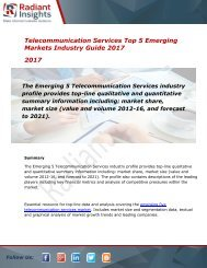 2017 Market Research explores the Telecommunication Services Top 5 Emerging Global Industry Guide:Radiant Insights, Inc