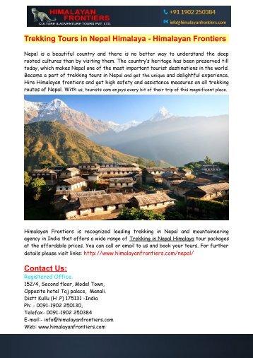 Trekking Tours in Nepal Himalaya - Himalayan Frontiers