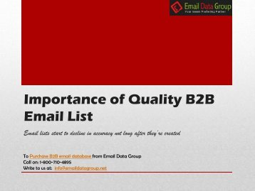 Truth About Quality B2B Email List