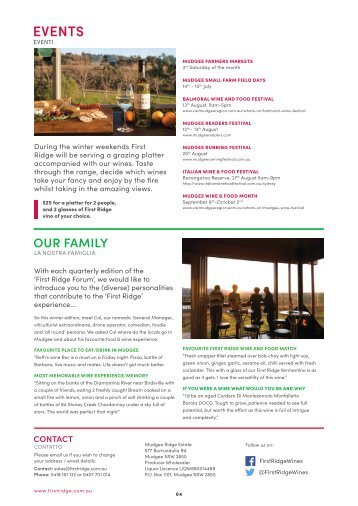 First Ridge Wines Newsletter 5th July 2017