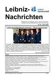 Leitungswiderstand verloren – Preis gewonnen - Leibniz-Institut für ...
