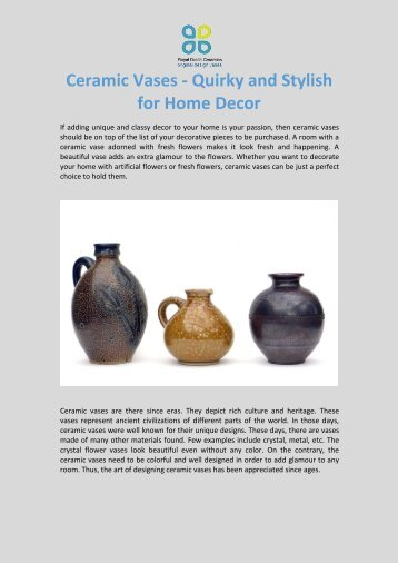 Ceramic Flower Vase A Must For Decorating Interiors