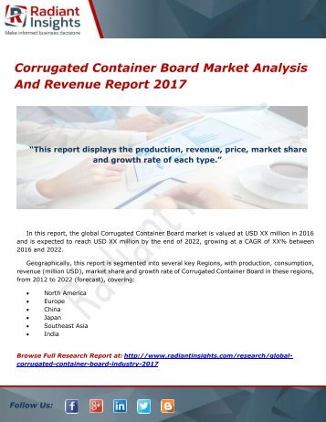 Corrugated Container Board Market Analysis And Revenue Report 2017