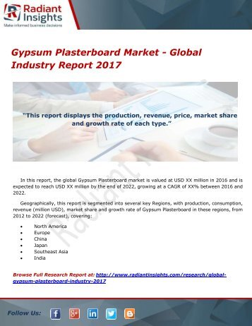 Gypsum Plasterboard Market - Global Industry Report 2017