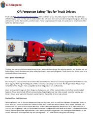 Oft Forgotten Safety Tips for Truck Drivers