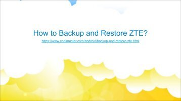 Backup and Restore Data from ZTE