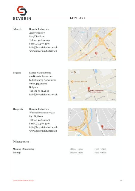 Beverin Idustries - Baukeramik & Natursteine Preisliste 2017