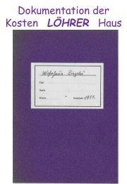 1951 - Wohnhaus Ziegelei - Dokumentation in Form von Buchführung gelistet