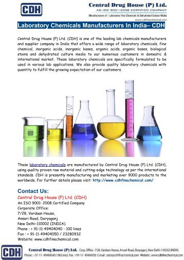 Laboratory Chemicals Manufacturers In India– CDH
