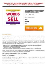 Get Free E-Book Words that Sell Revised and Expanded Edition  The Thesaurus to Help You Promote Your Products Services New Collection